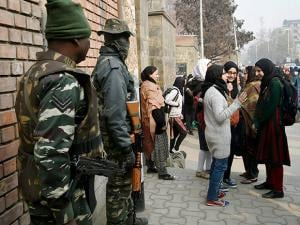 Stringent security arrangements in place outside an examination centre in Srinagar
