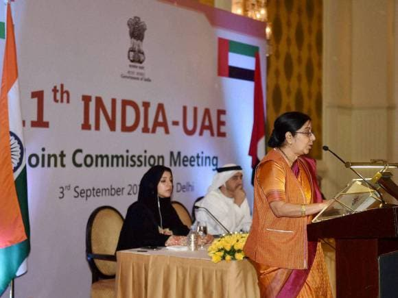 Foreign Minister of India, Sushma Swaraj, India, UAE, India -UAE Joint Commission Meeting