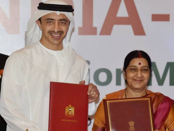 Foreign Minister of India, Sushma Swaraj, UAE Foreign Minister, Sheikh Abdullah Bin Zayed Al Nahyan, India, UAE, India -UAE Joint Commission Meeting, Businessmen