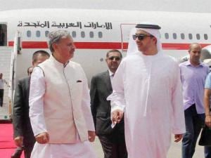 Minister of Foreign Affairs of United Arab Emirates is received by Minister of State for Defence Rao Inderjeet Singh