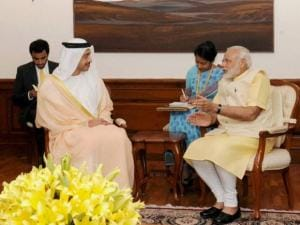 Prime Minister Narendra Modi with Foreign Minister of UAE, Sheikh Abdullah Bin Zayed Al Nahyan