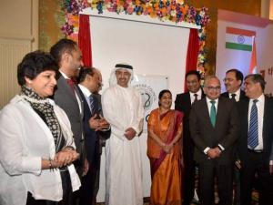 Sushma Swaraj and UAE's Foreign Minister Sheikh Abdullah Bin Zayed Al Nahyan with businessmen
