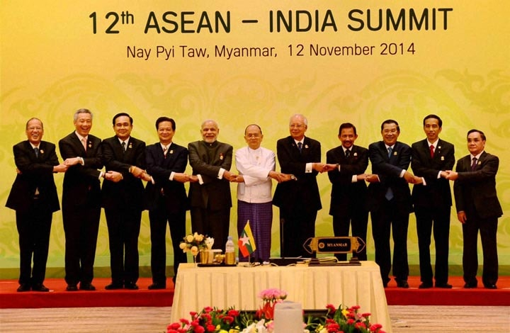 Prime Minister, Narendra Modi, joins hands, ASEAN leaders, group photo session, 12th India-ASEAN Summit, Nay Pyi Taw, Myanmar