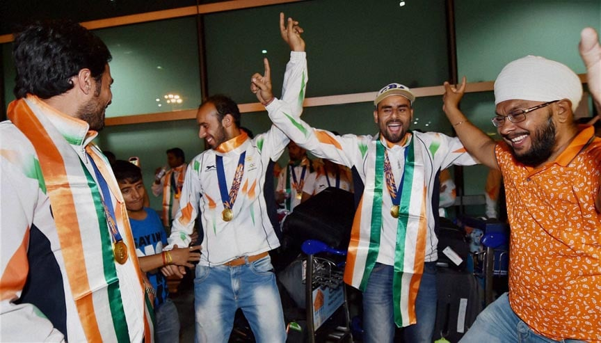 Players, Asian Games, gold medal, winning, Indian Hockey team, jubilate, arrival, IGI airport, New Delhi