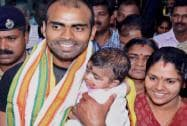 Asian Games gold medalist Indian hockey team Goalkeeper PR Sreejesh with his young daughter and wife