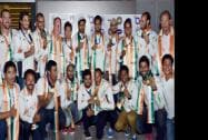 Players of the Asian Games gold medal winner Indian Hockey team