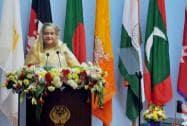 Bangladeshi Prime Minister Sheikh Hasina addresses the inaugural session of 18th SAARC Summit