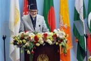 Nepal's Prime Minister Sushil Koirala addresses the inaugural session of the 18th SAARC Summit