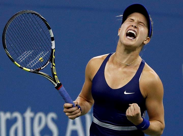Eugenie Bouchard, Canada, reacts, defeating, Barbora Zahlavova Strycova, Czech Republic, third round, 2014, U.S. Open tennis tournament