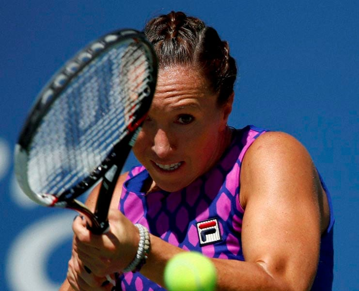 Jelena Jankovic, Serbia, returns,shot, Johanna Larsson, Sweden, third round, 2014, U.S. Open tennis tournament