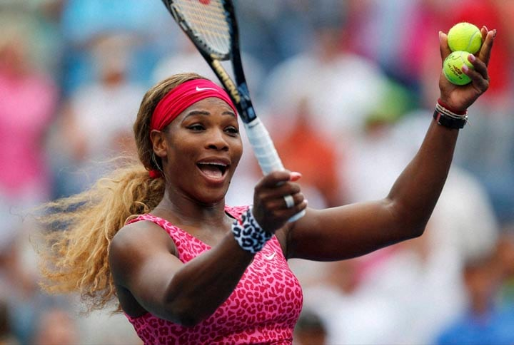 Serena Williams, United States, reacts, crowd, prepares, hit balls, stands, defeating, Varvara Lepchenko, United States, third round, 2014, U.S. Open tennis tournament