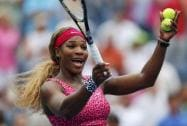 Serena Williams of the United States reacts to the crowd