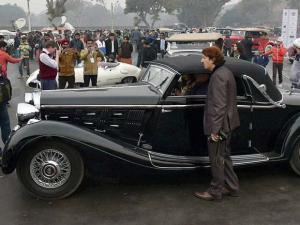 Vintage cars on display at 21 Gun Salute International Vintage Car Rally & Concours Show, 2016 in front of Red Fort in New Delhi