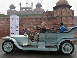 Vintage cars on display at 21 Gun Salute International Vintage Car Rally & Concours Show at the front of Red Fort in New Delhi