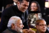 Bollywood star Salman Khan shares a light moment with Prime Minister Narendra Modi