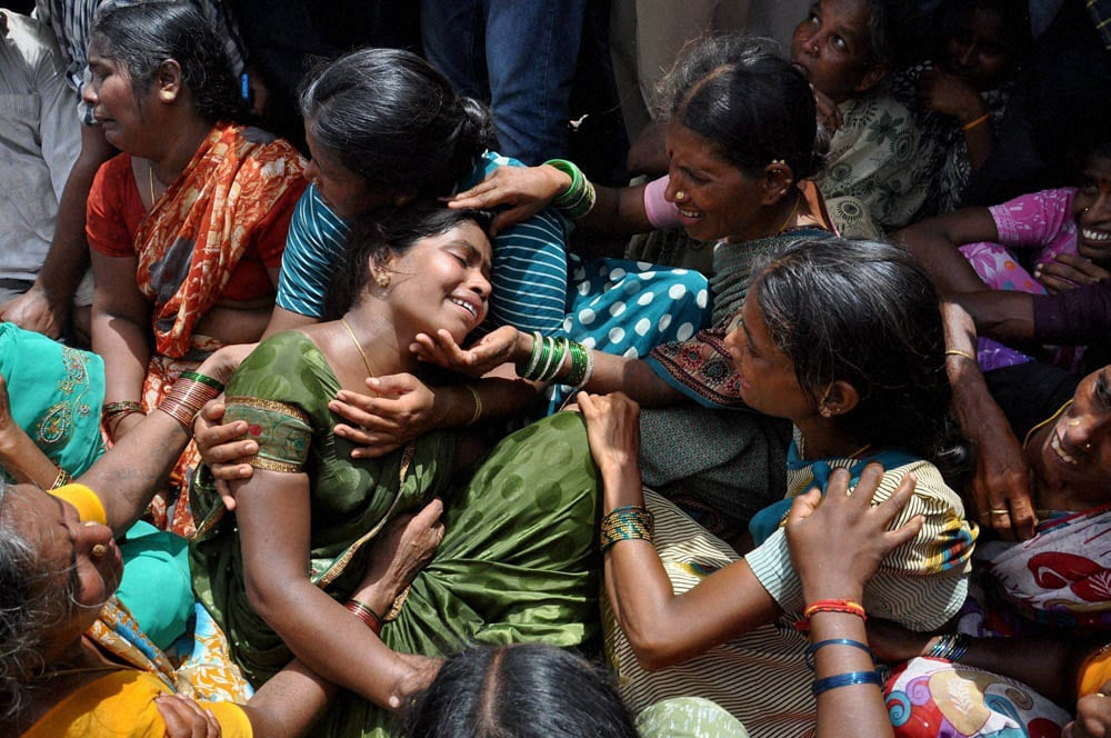 Crying, relatives, victims, school bus, train, Masaipet, Medak