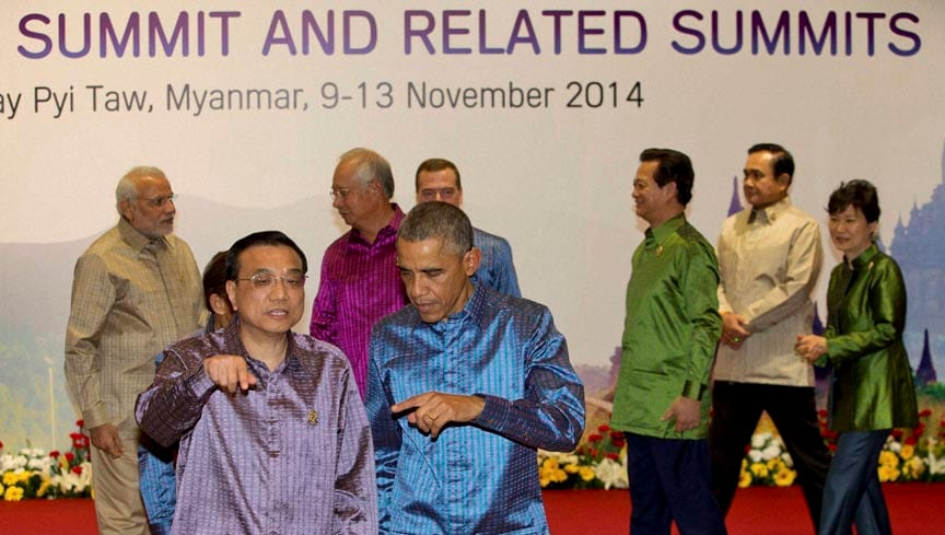 Prime Minister, Narendra Modi, US President, Barack Obama, Chinese Prime Minister, Li Keqiang gesture, walk,  posing, group photo, leaders of Association of Southeast Asian Nations  (ASEAN), related summits, ahead, gala dinner, Myanmar International Convention Center, Naypyitaw