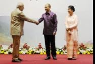 Prime Minister Narendra Modi being welcome by Myanmar President Thein Sein