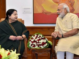 Tamil Nadu CM  J. Jayalalithaa meets Prime Minister Narender Modi in New Delhi