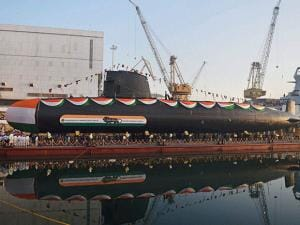 India's second Scorpene class submarine 'Khanderi' launched at Mazagon Dock Shipbuilders Limited (MDL)