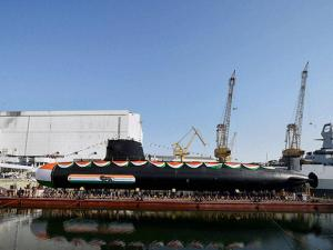 Scorpene class submarine 'Khanderi' launched at Mazagon Dock Shipbuilders Limited