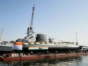 Scorpene class submarine 'Khanderi' launched at Mazagon Dock Shipbuilders Limited (MDL) in Mumbai
