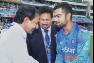 Chief Minister of Telangana K Chandra Sekhar Rao meets Indian skipper Virat Kohli