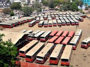 City buses parked at a depot after drivers and conductors went on strike