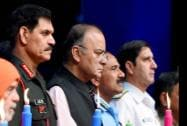 Union Defence Minister, Arun Jaitley with Chiefs of Armed Forces Arup Raha, General Dalbir Singh and R.K. Dhowan