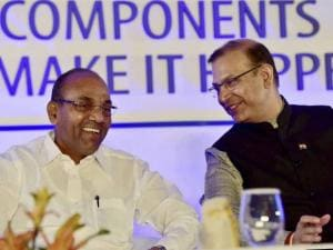 Heavy Industries Minister Anant Geete and MoS for Finance Jayant Sinha