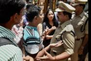 A protest at a school where a 6-year-girl was raped last week in Bengaluru