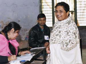 BSP supremo Mayawati at polling boot