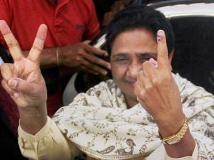 BSP supremo Mayawati shows her inked finger