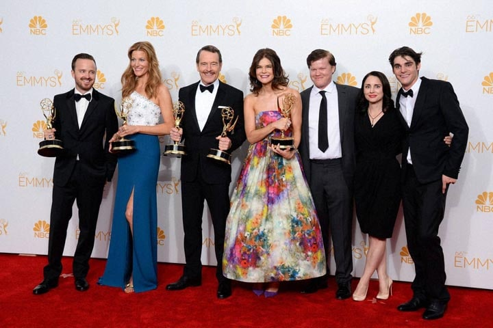 Aaron Paul, Anna Gunn, Bryan Cranston, Betsy Brandt, Jesse Plemons, Laura Fraser, RJ Mitte, pose, press room, award, outstanding, drama, series, Breaking Bad, 66th, Annual, Primetime, Emmy Awards, Nokia Theatre, L.A. Live