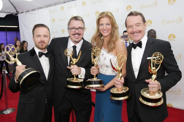 Aaron Paul, Vince Galligan, Anne Gunn, Bryan Cranston, pose, awards, outstanding, drama, series, work, Breaking Bad, 66th Primetime Emmy Awards, Nokia Theatre, L.A. Live