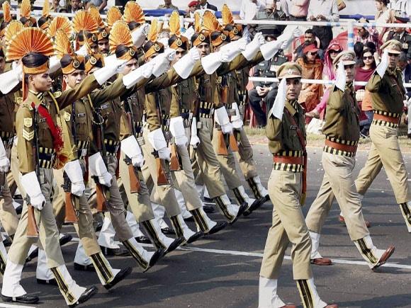 66th Republic day ,66th Republic Day celebration in India, Police personnel march