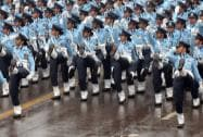 IAF's all-women contingent marching