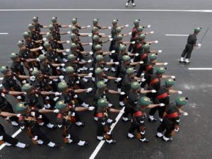 A marching contingent of soldiers