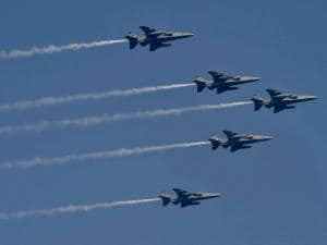 IAF's fighter planes flying past during a full dress rehearsal for the Republic Day Parade