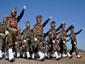 Madhya Pradesh Police contigent marches during full dress rehearsal for the Republic Day parade