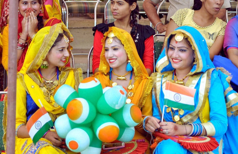 Girl performers, jubilant mood, Independence Day function