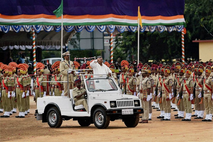 Karnataka, Chief Minister, Siddaramaiah, inspects, guard, Manek Shaw Parade ground, Bengaluru
