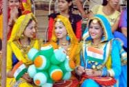 Girl performers in a jubilant mood during the Independence Day function