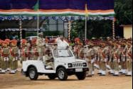 Karnataka Chief Minister Siddaramaiah inspects the guard