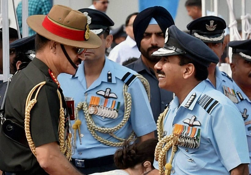 Air Chief Marshal, Arup Raha, shakes hands, Army chief, Gen Dalbir Singh Suhag, 82nd Air Force Day, function, Air Force Station, Hindon