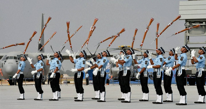 IAF, personnel, perform, guns, 82nd Air Force Day, function at Air Force Station Hindon