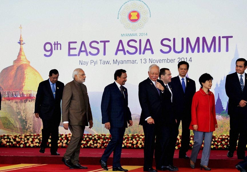 Prime Minister Narendra Modi, leaves, leaders, group photo session, 9th East Asia Summit, Nay Pyi Taw,  Myanmar
