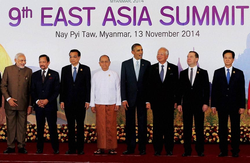 Prime Minister Narendra Modi, other leaders, group photo session, 9th East Asia Summit, Nay Pyi Taw, Myanmar