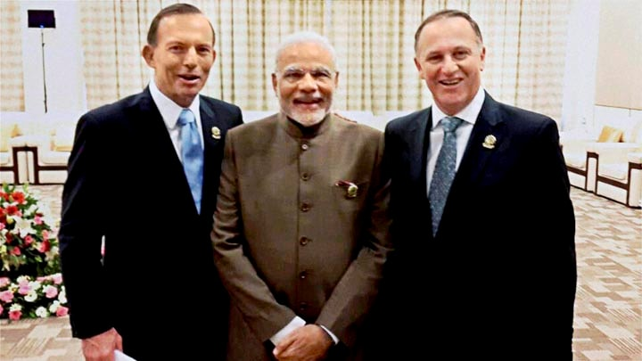 Prime Minister Narendra Modim, Prime Minister of New Zealand, John Key, Prime Minister of Australia, Tony Abbott, East Asia Summit, Nay Pyi Taw, Myanmar