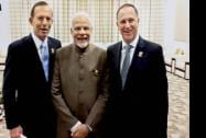 Prime Minister Narendra Modi with the Prime Minister of New Zealand John Key and the Prime Minister of Australia, Tony Abbott